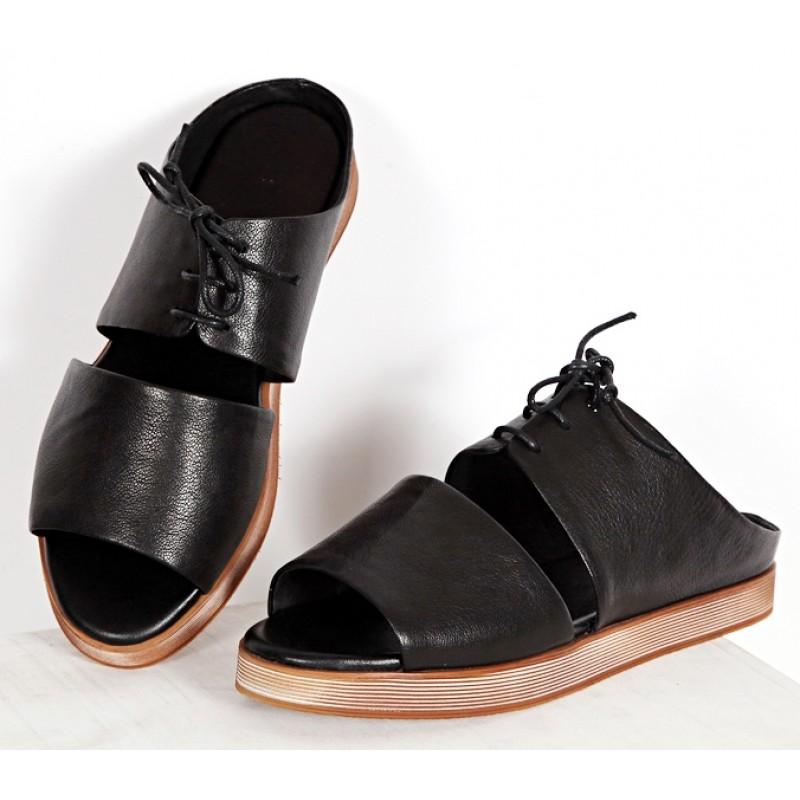 Black Leather Khaki Sole Peep Toe Slip