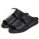 Black Leather Peep Toe Slip On Mens Roman Gladiator Sandals