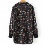 Black Colorful Animals Print Button Up Shirt Blouses