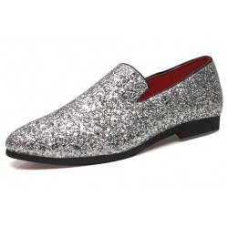 Silver Glitters Sparkles Mens Oxfords Loafers Dress Shoes Flats