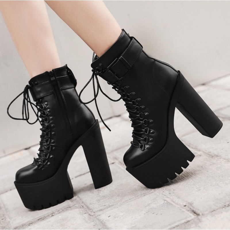 4999de66b19 Black Round Head Lace Up Platforms Punk Rock Pointed Head Chunky Heels Boots  Creepers Shoes