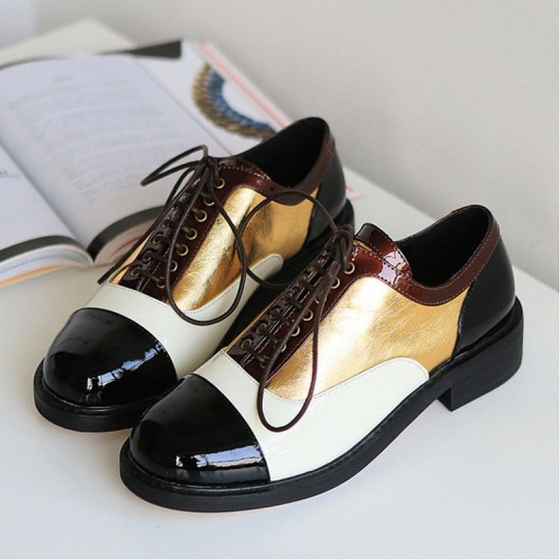 Black White Gold Patent Leather Lace Up