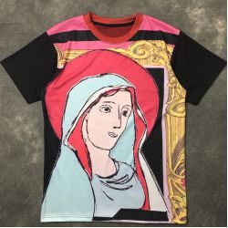 Black Lady Mary Maria Round Neck Short Sleeves Funky Mens T-Shirt