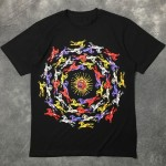 Black Colorful Running Horses Circle Round Neck Short Sleeves Funky Mens T-Shirt