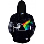 Black Rainbow Galaxy Universe Long Sleeves Mens Jacket Winter Hooded Hoodies