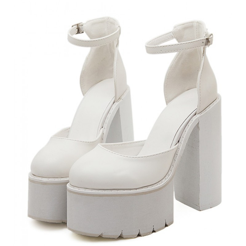 04b5ba13370 White Chunky Cleated Platforms Thick Sole Block High Heels Shoes