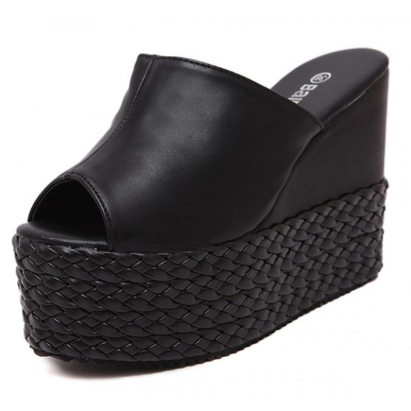 065c8560040 Black Peeptoe Braided Straw Knitted Platforms Wedges Sandals Shoes