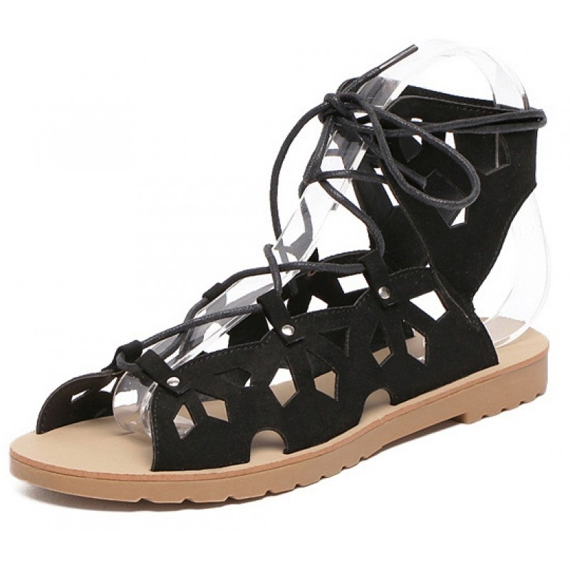 eab03e3376a5 Black Vintage Hollow Out Lace Up Gladiator Roman High Top Sandals Flats  Shoes