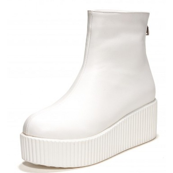 White Platforms Punk Rock Chunky Sole Boots Creepers Shoes