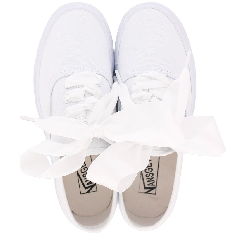 White Ribbon Giant Bow Lace Up Sneakers