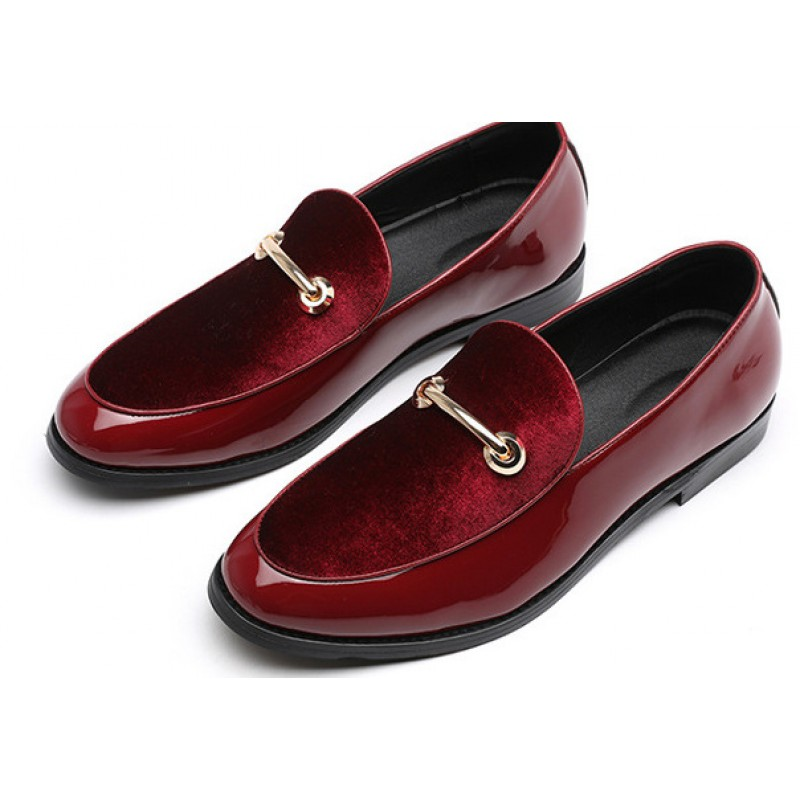 Burgundy Red Patent Gold Mens Flats