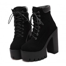 Black Suede Chunky Sole Block High Heels Platforms Boots Shoes