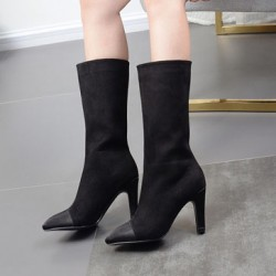 Black Suede Point Head Mid Length High Heels Boots Shoes