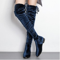 Blue Royal Velvet Long Knee Rider Flats Boots Shoes