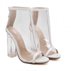 Transparent White PU Peep Toe Glass High Heels Boots Shoes