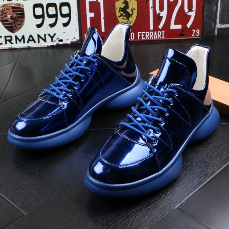 Blue Metallic Lace Up Thick Sole High