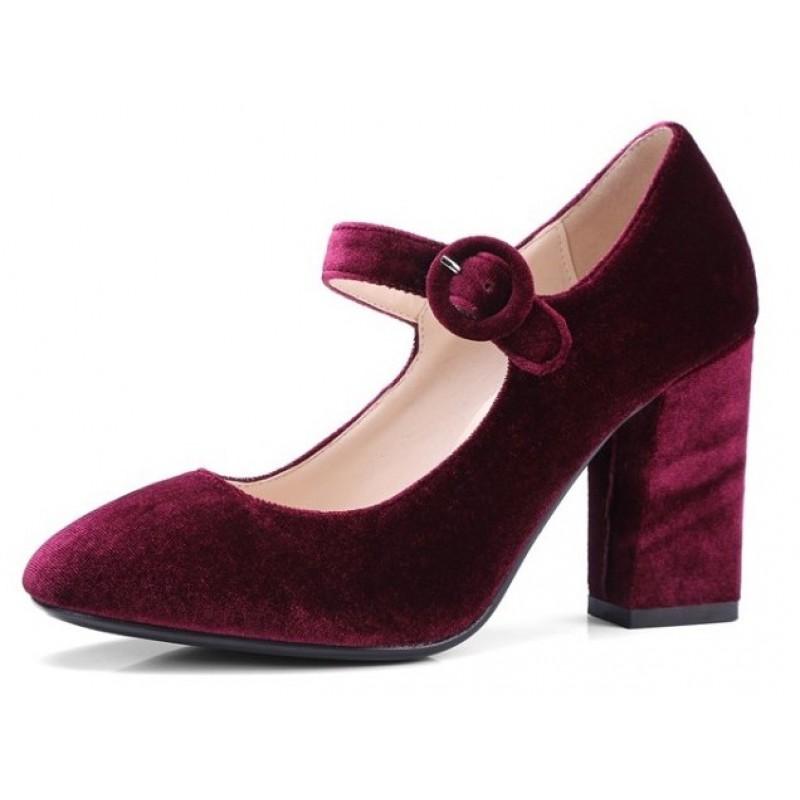 Burgundy Red Velvet Mary Jane Block
