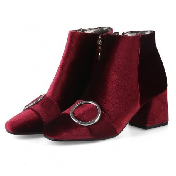 Red Velvet Suede Blunt Head Ankle Boots Shoes