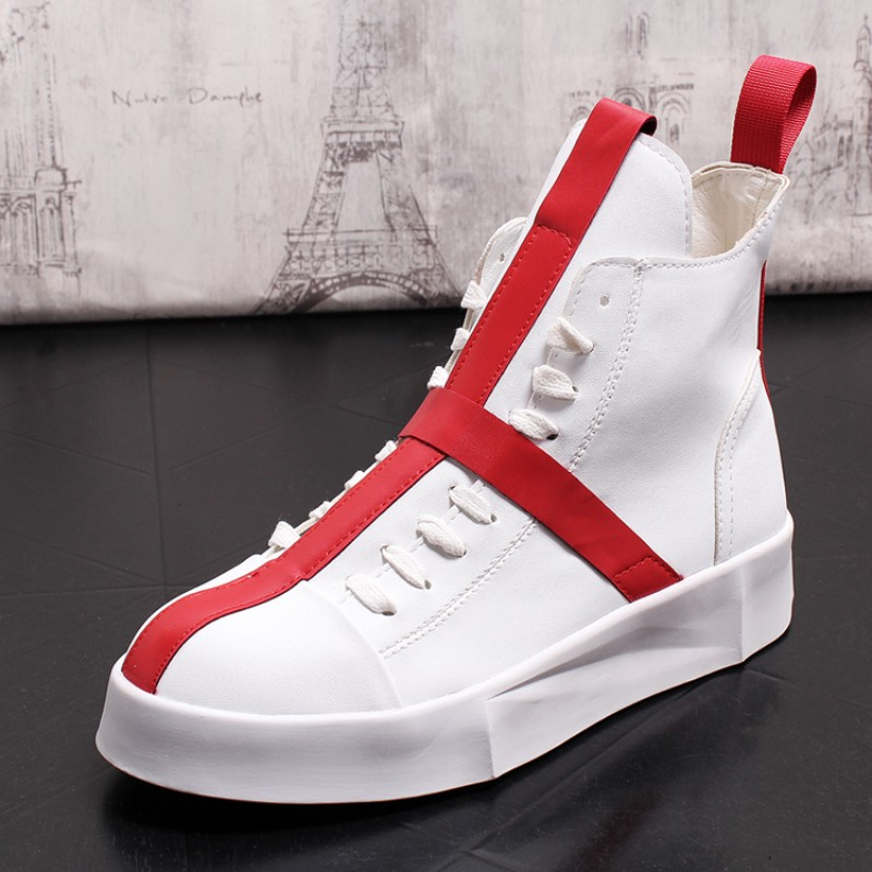 White Red Cross Lace Up Thick Sole High