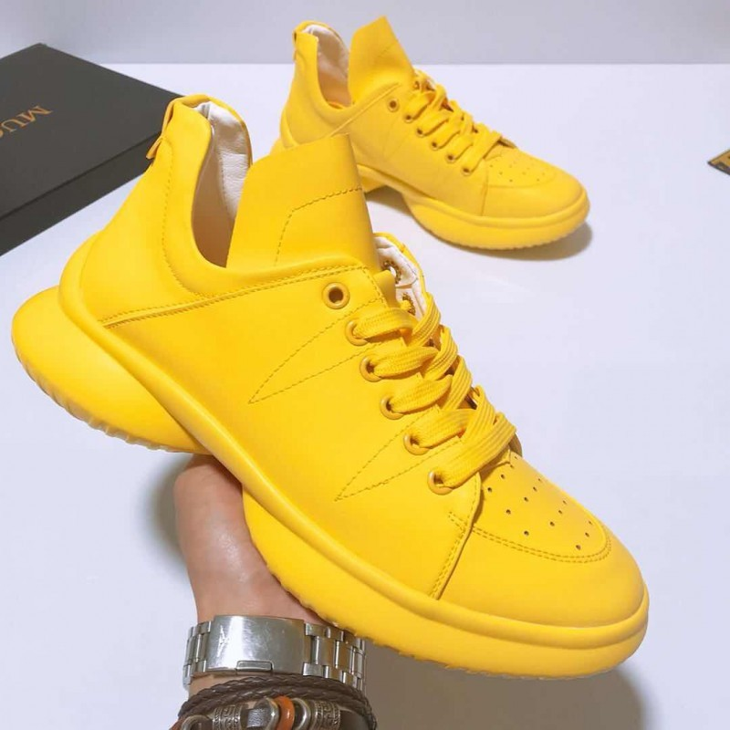 Yellow Lace Up Thick Sole High Top
