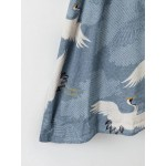Grey Crane Pattern Japanese Long Sleeves Kimono Cardigan Outer Wear