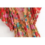 Orange Red Florals Crane Pattern Long Sleeves Kimono Cardigan Outer Wear