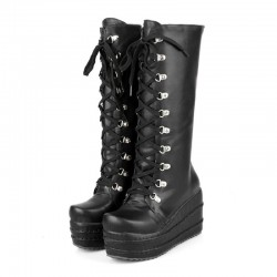 Black Chunky Platforms Wedges Sole Grunge Gothic High Top Boots Shoes