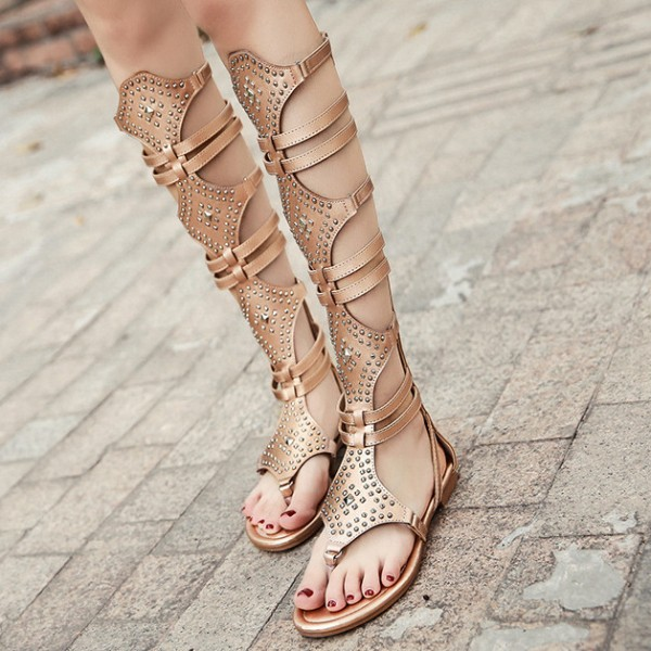 Gold Beads Flip Flops Boots Flats Roman Gladiator Sandals Shoes