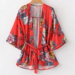 Red White Oriental Pattern Long Sleeves Chiffon Kimono Cardigan Outer Wear