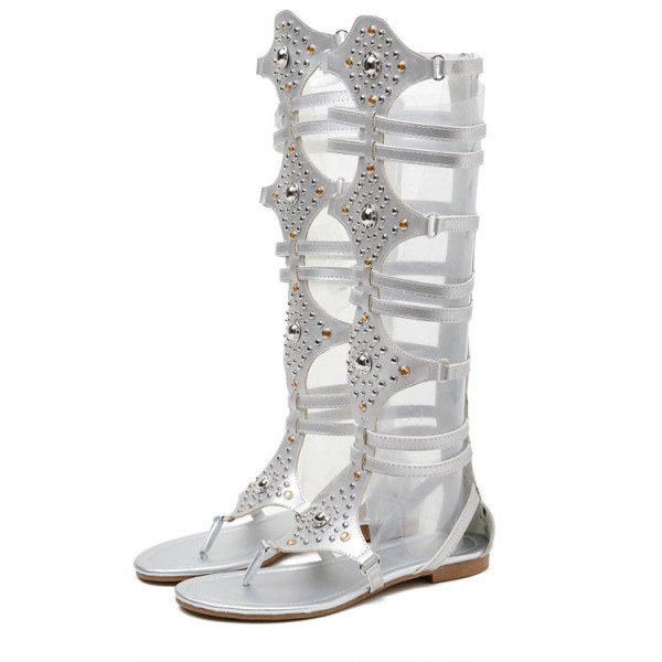 Silver Beads Flip Flops Boots Flats Roman Gladiator Sandals Shoes