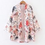 White Giant Flowers Retro Batwing Kimono Cardigan Outer Wear