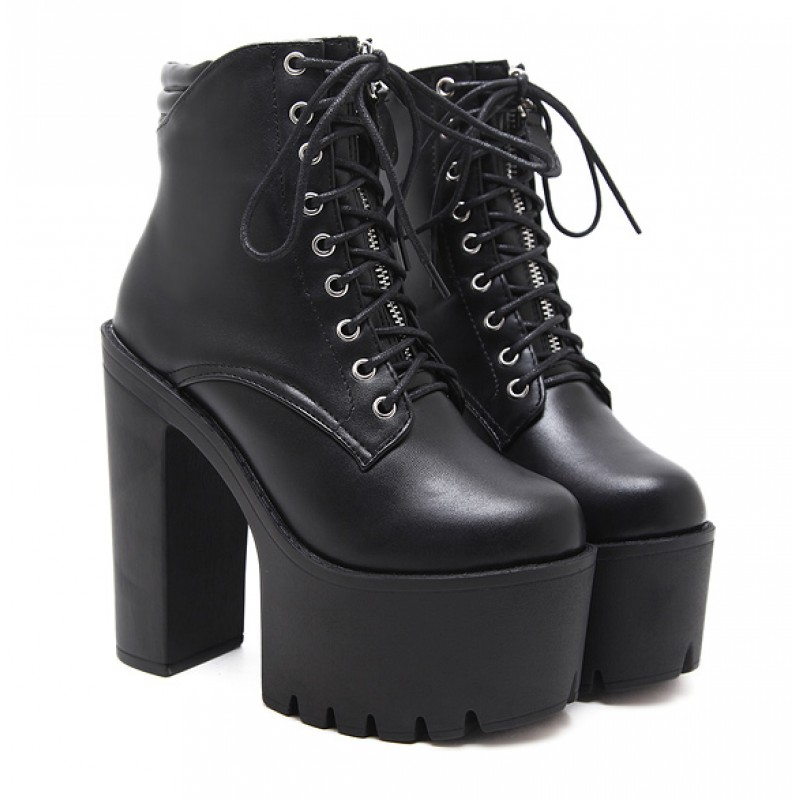18fe94ca7db Black Lace Up Gothic Platforms Punk Rock Chunky Block Heels Boots Shoes