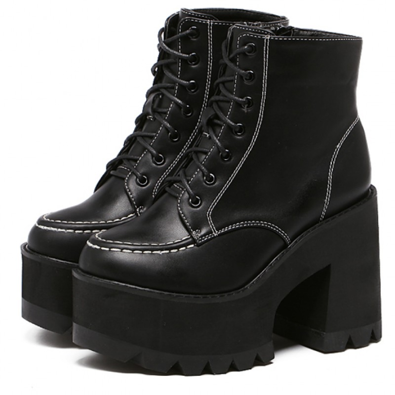 Black Thick Sole Platforms Chunky Lace