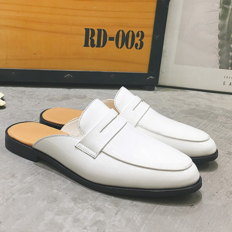 White Leather Mens Formal Slip On Flats