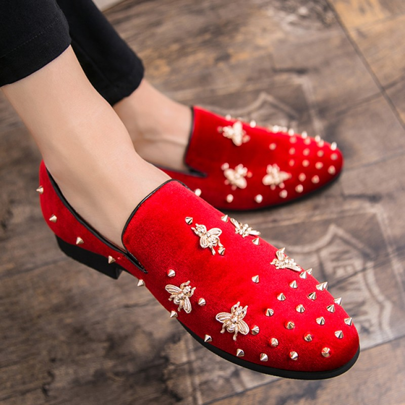 Red Suede Gold Bees Spike Studs Punk