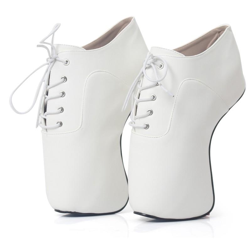 White Lace Up Weird Heels Heelless