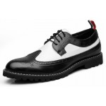 Black White Vintage Leather Dapper Man Lace Up Mens Oxfords Dress Shoes