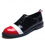 Black Red Patent Leather Dapper Man Lace Up Mens Oxfords Dress Shoes
