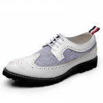 White Blue Vintage Leather Dapper Man Lace Up Mens Oxfords Dress Shoes