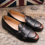 Brown Double Buckles Flats Loafers Dappermen Dapper Mens Dress Shoes