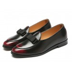 Burgundy Bow Mens Oxfords Flats Loafers Dappermen Dapper Men Dress Shoes