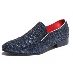 Blue Glitters Mens Oxfords Flats Loafers Dappermen Dapper Men Dress Shoes