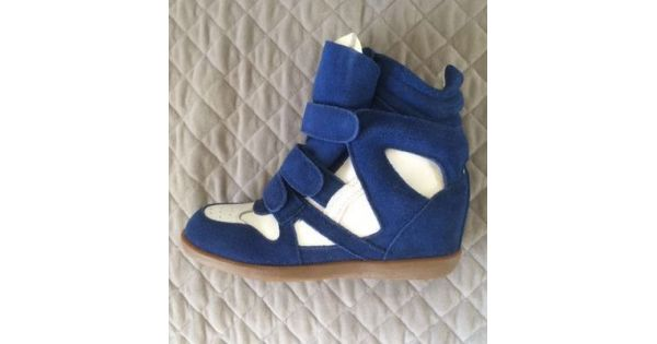 Suede Blue White Top Velcro Sneakers Hidden High Wedges Tapes Shoes 7gY6bfy