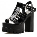 Black Patent Block Chunky Sole High Heels Gladiator Platforms Sandals Shoes