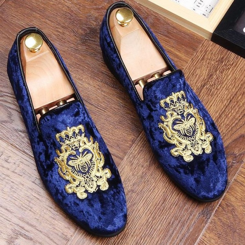 Blue Velvet Suede Gold Embroidery Bee
