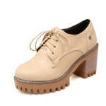 Beige Lace Up Cleated Sole Platforms Chunky Heels Oxfords Shoes