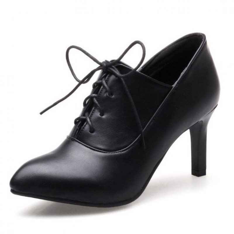 Black Lace Up Point Head Stiletto High