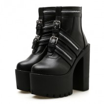 Black Buckles Punk Rock Chunky Sole Block High Heels Platforms Boots Shoes