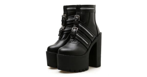 679fd8864c2f0 Black Buckles Punk Rock Chunky Sole Block High Heels Platforms Boots Shoes