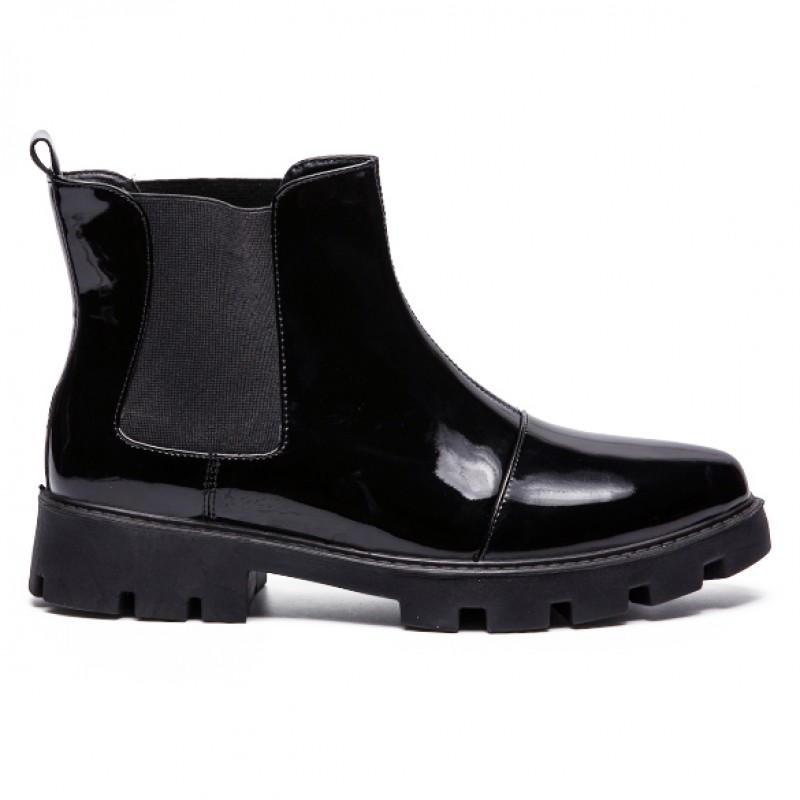 Black Patent Glossy Mens Chelsea Ankle